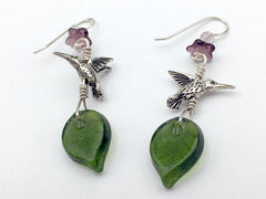 Pewter & Sterling silver hummingbird dangle earrings-purple flower and green glass leaves