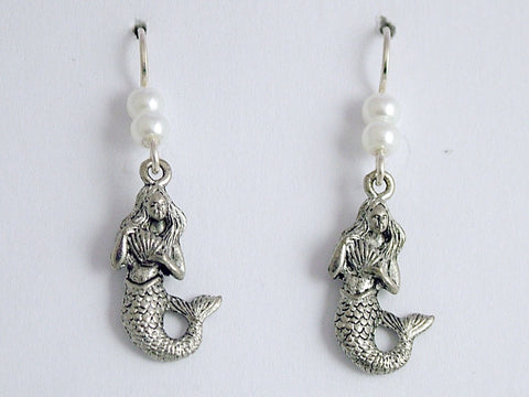 Pewter and sterling silver Mermaid  with shell dangle earrings-Mermaids, sirens