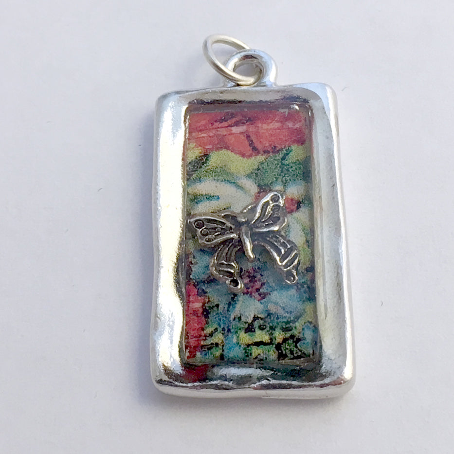 Pewter frame, vintage flower print, sterling silver butterfly pendant-resin,