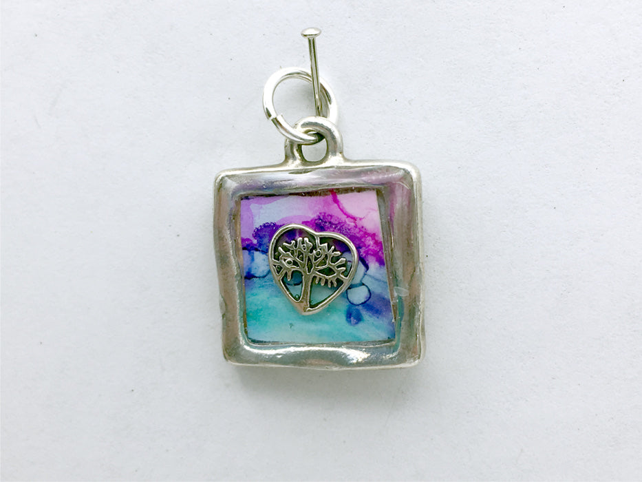 Square Pewter tree & sterling silver tree in heart pendant-resin, trees, alcohol ink