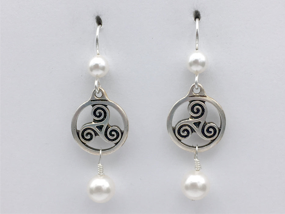 "Pewter & Sterling Silver Triskelion circle Celtic dangle Earrings-glass ""pearls"""