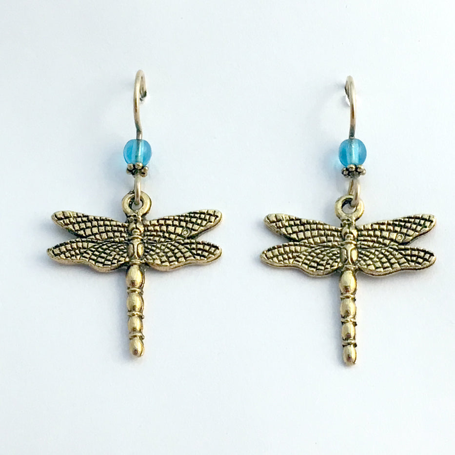 Gold tone Pewter large Dragonfly dangle earring-14kgf earwire-dragonflies-aqua