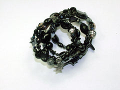 5 Strand Glass lampwork bead, crystal and gem bead Memory Wire Bracelet,  Blacks, Stars