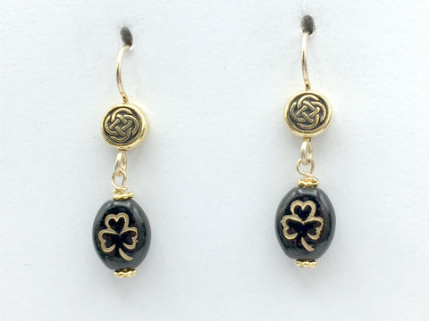14k GF and  Goldtone Pewter round Celtic knot with black & gold glass shamrock dangle earrings-St. Patricks Day,shamrocks