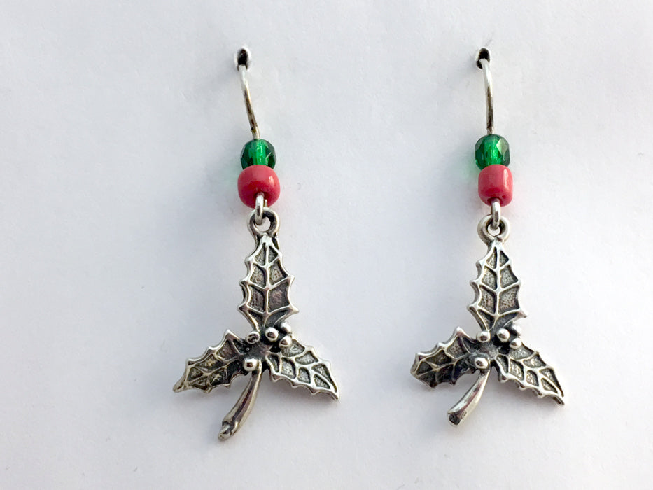 Sterling Silver Holly leaf dangle earrings-holiday,Christmas, leaves, berries