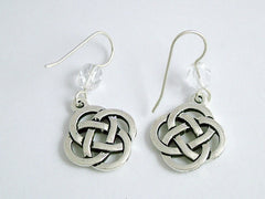 Pewter & Sterling Silver large Round Celtic Knot dangle Earrings- clear glass
