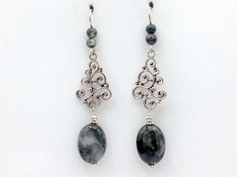 "Sterling Silver Large Swirls and dots dangle earrings-Moss Agate, elegant, 2 7/8"" long"