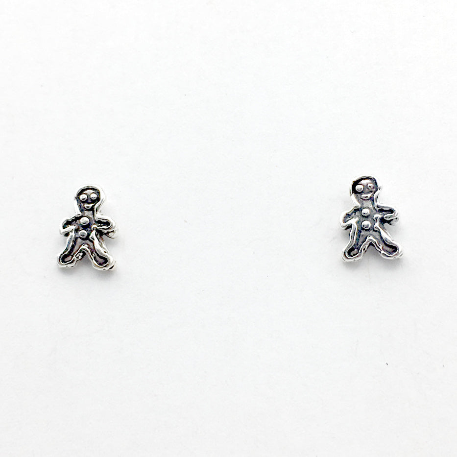 Sterling Silver and Surgical Steel tiny gingerbread man stud earrings-cookie