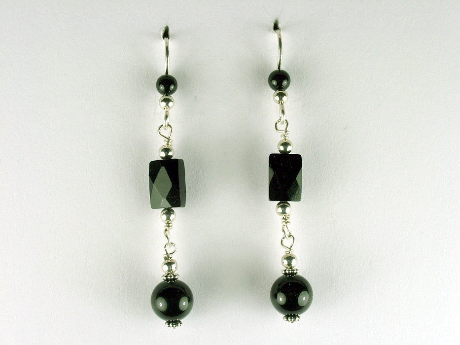 Sterling silver and Black Onyx beads dangle earrings- Elegant, 2 1/4 inches