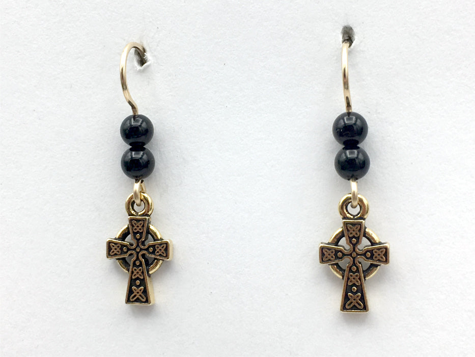 Gold tone Pewter & 14k gf small Celtic Cross dangle earrings-Religion,black onyx