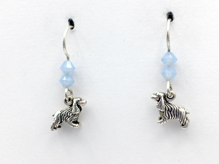 Sterling Silver tiny Spaniel dog dangle earrings ,Cocker,dogs, King Charles,