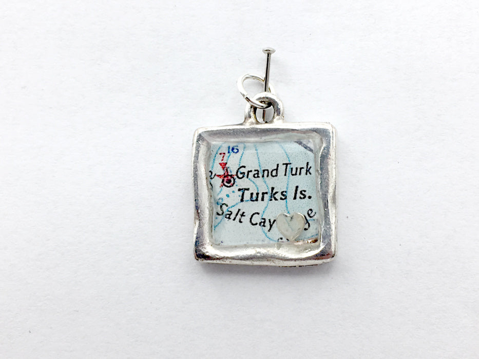 Pewter with Sterling Silver heart and vintage map print of Turks Islands, Salt Cay pendant-resin, travel