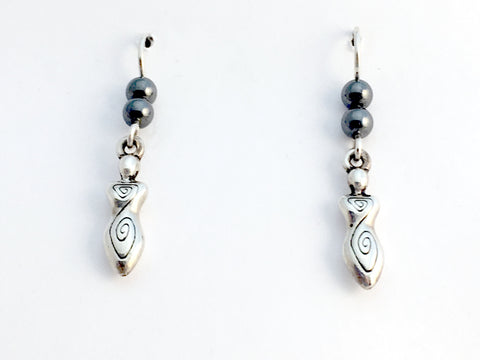 Pewter & Sterling silver medium Goddess dangle earrings-spiral, hematite,spirals