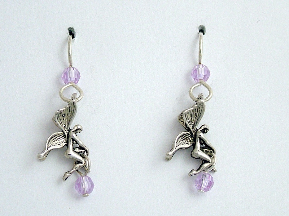 Sterling silver  Fairy earrings-lavender crystal-Fantasy, fairies, fey,sprite