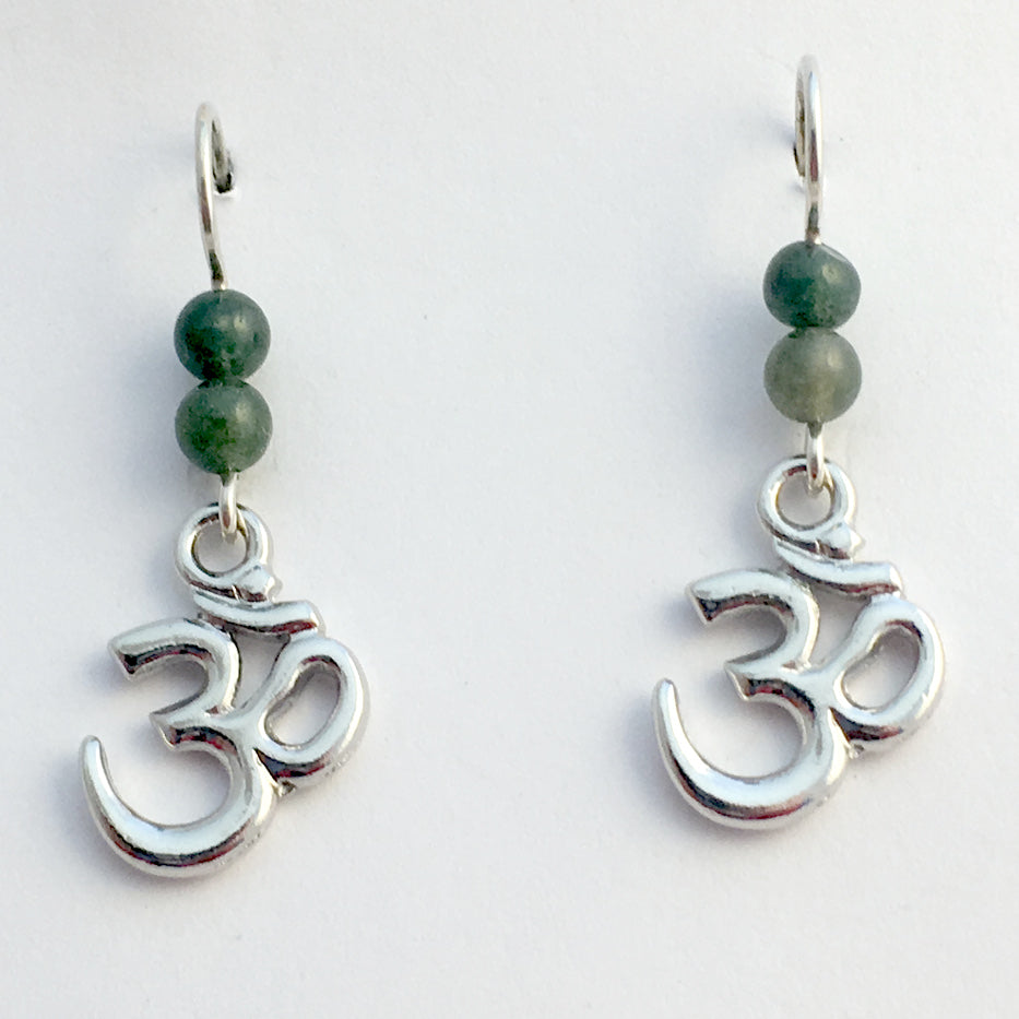 Pewter & Sterling silver om symbol dangle earrings-omkara, aum, Hindu, mantra