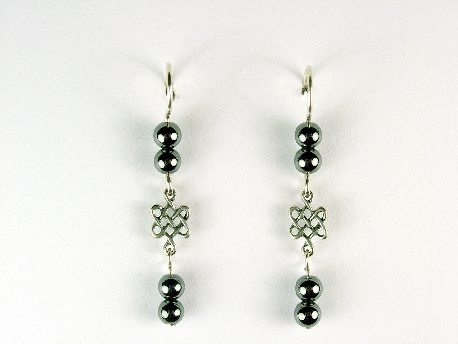 Sterling silver small Celtic knot dangle earrings-Hematite dangle, Knots,