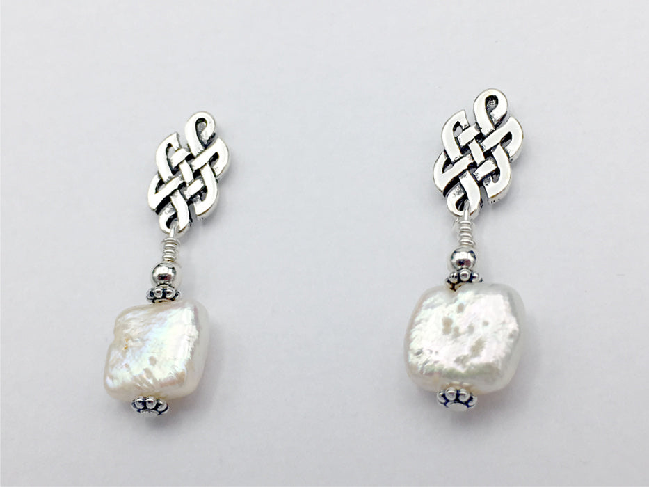 Sterling Silver & surgical steel Celtic knot stud Earrings-Freshwater Pearls