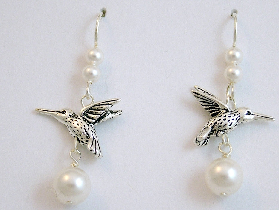 "Pewter & Sterling silver hummingbird dangle earrings- glass ""pearl"", bird-hummer"