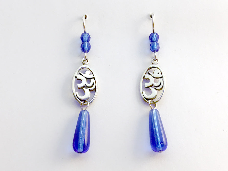 Sterling silver oval om symbol dangle earrings-blue, omkara, aum, Hindu, mantra
