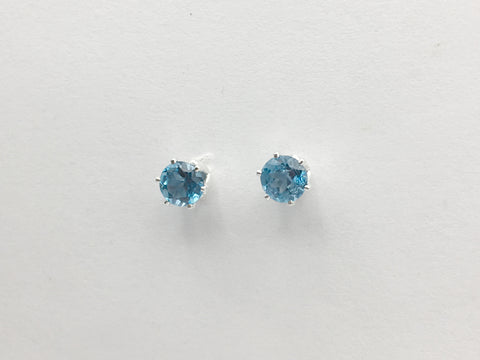 Sterling silver 5mm London Blue Topaz stud earrings-studs, faceted, gorgeous