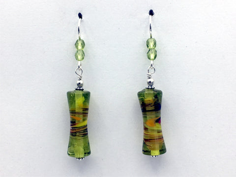 Green glass with orange & white swirl tube bead dangle earrings-sterling silver
