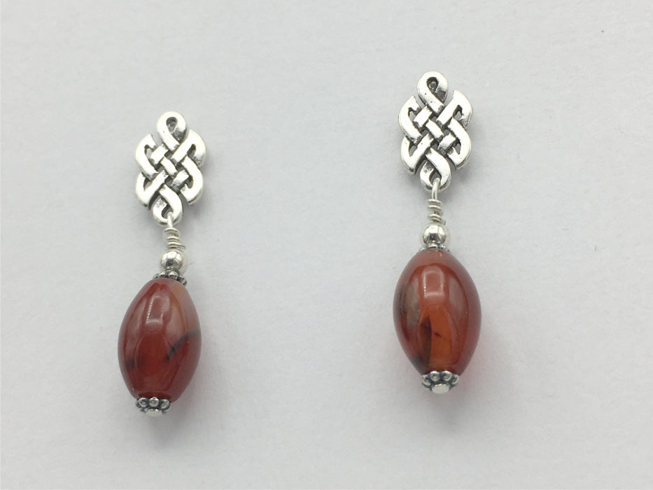 Sterling Silver & surgical steel Celtic knot stud Earrings-red agate, knots