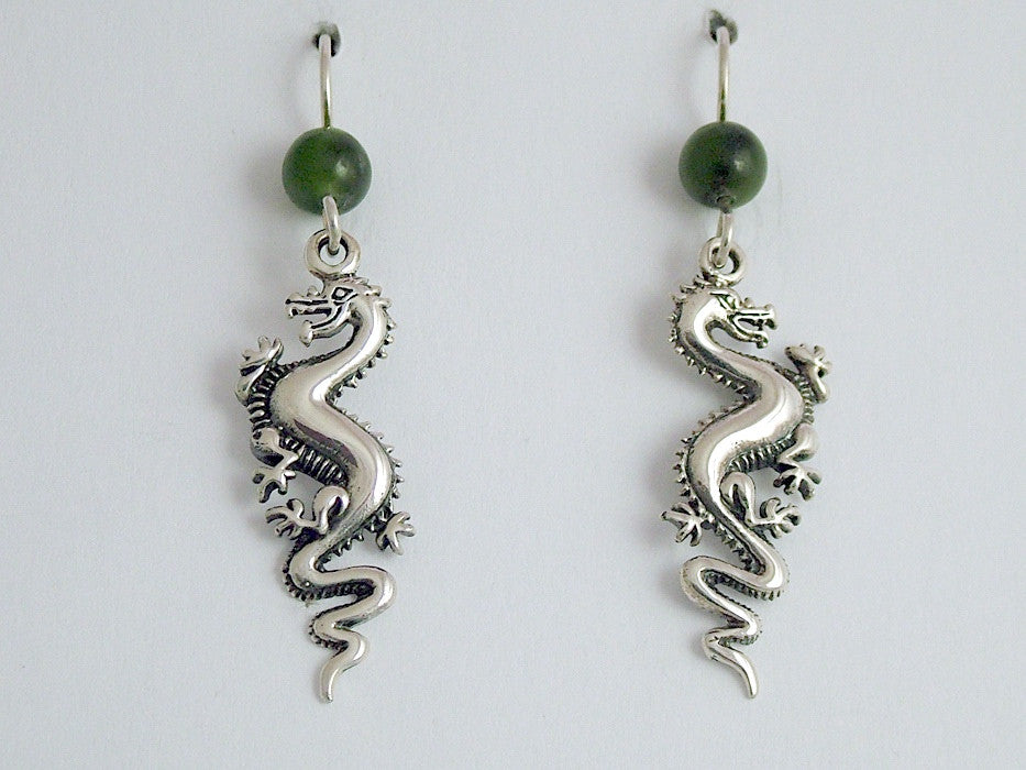 Sterling Silver Long Dragon dangle earrings-Fantasy, Jade, dragons, 2 inches