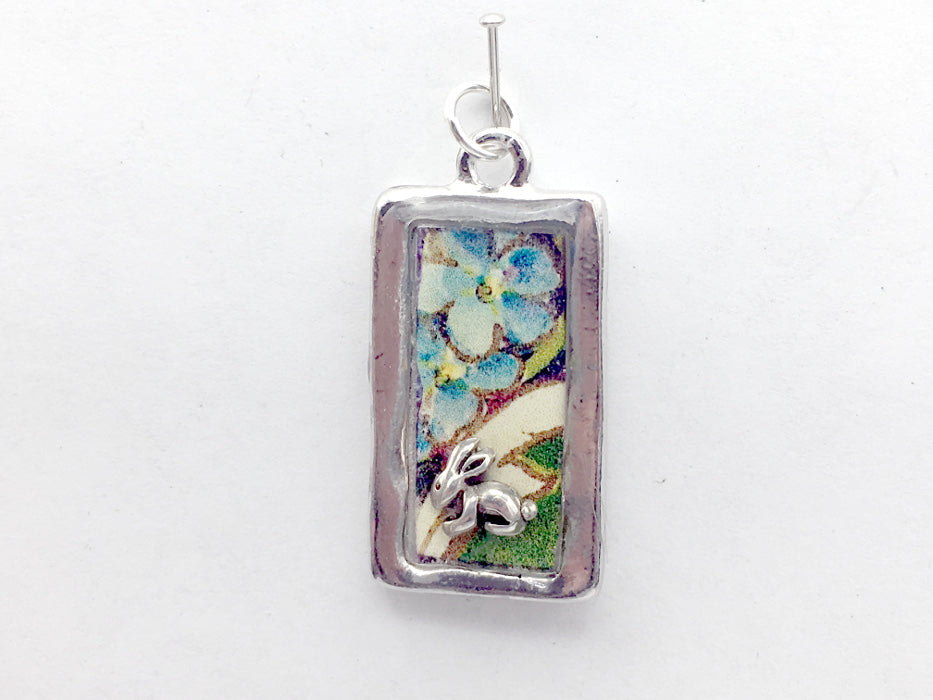 Pewter frame pendant w/ sterling silver bunny- resin, rabbit, Easter, flowers