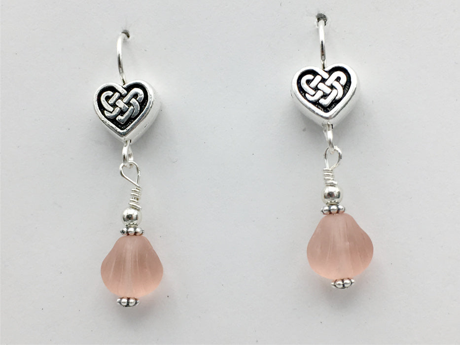 Pewter & sterling silver Celtic Knot Heart dangle earrings-pink glass-Valentine