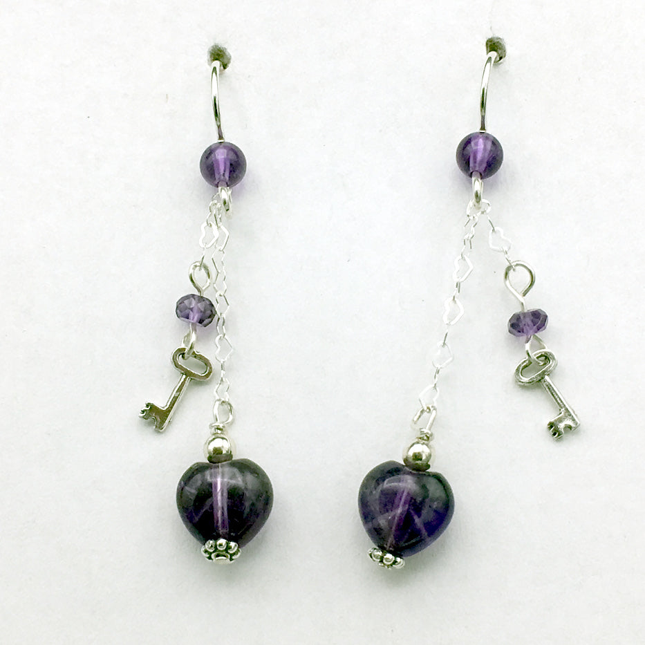 Sterling Silver and Amethyst heart dangle earrings-love, key to my heart, hearts