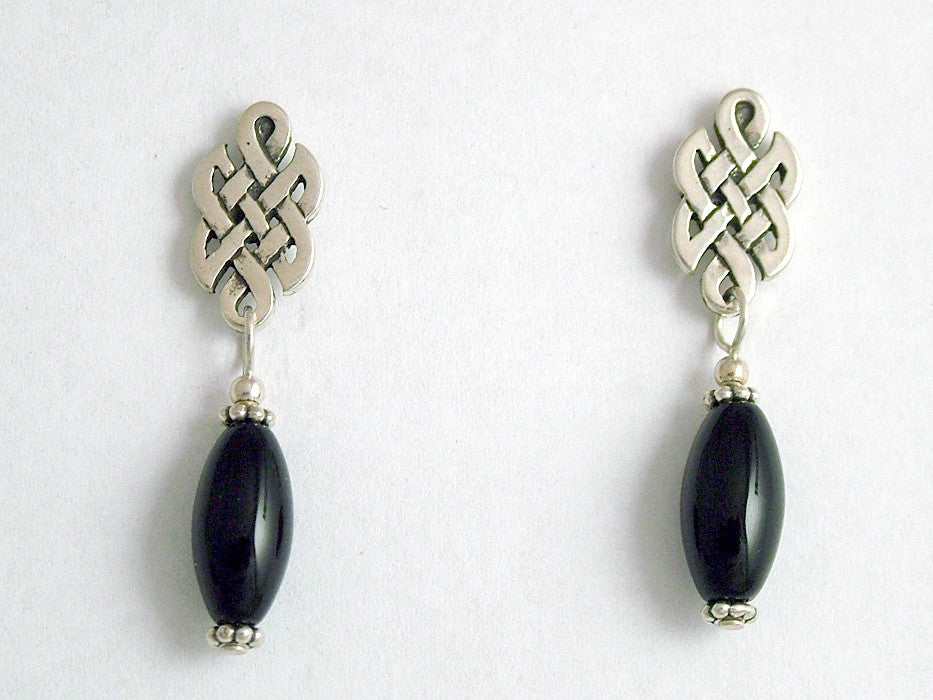 Sterling Silver & surgical steel  Celtic knot stud Earrings- Obsidian dangle