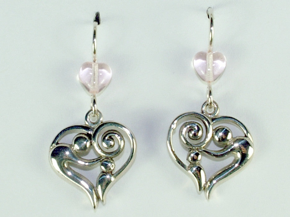 Sterling silver Mother & child in heart dangle earrings-hearts,spiral, love, mom