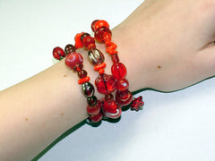 4 Strand Glass lampwork bead, crystal bead Memory Wire Bracelet, Reds