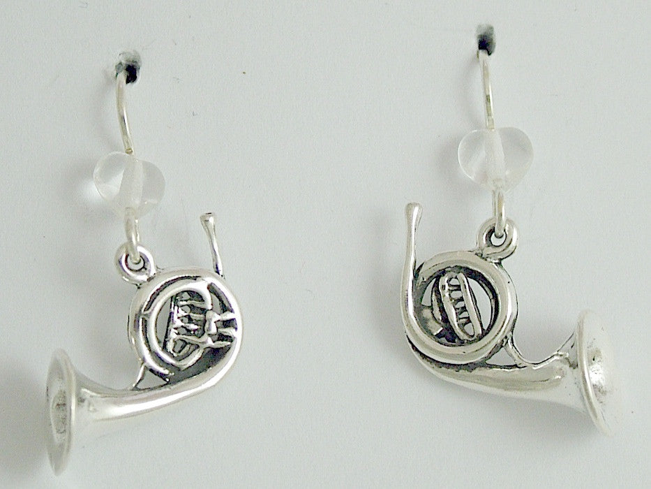 Sterling Silver large French Horn dangle earrings-Music,musician, band,orchestra