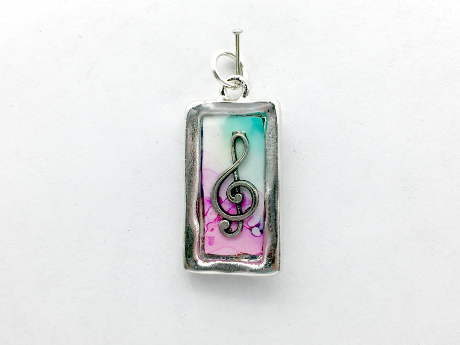 Pewter frame with Treble Clef pendant-resin, alcohol ink, pink, green, music, musician