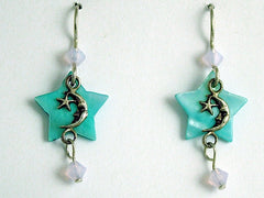Sterling Silver tiny man in moon & star dangle earrings,celestial, crystal,shell