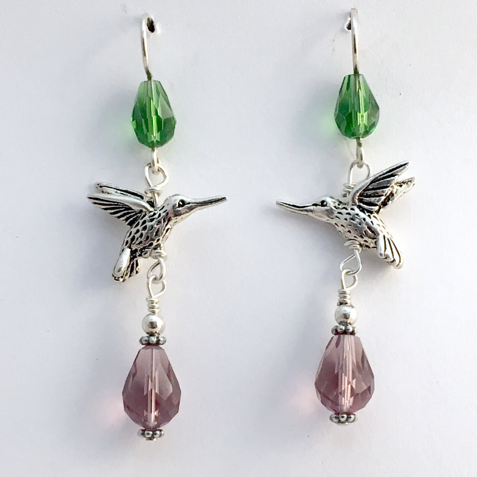 Pewter & Sterling silver hummingbird dangle earrings-purple & green crystal,bird,birds