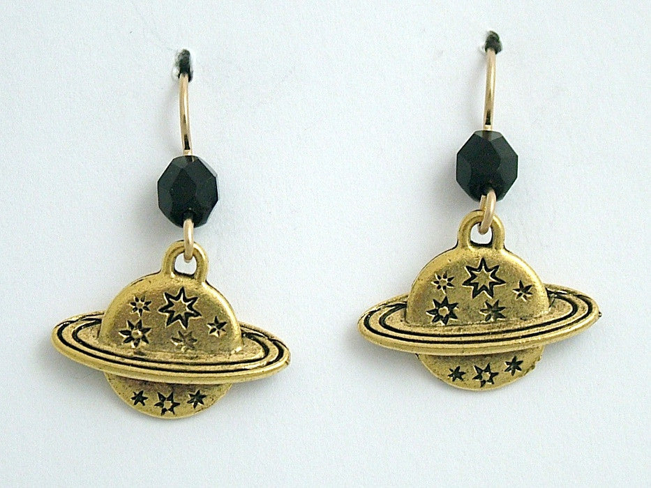 Gold tone Pewter &14k gold filled Planet w/rings & star earrings-astronomy,stars