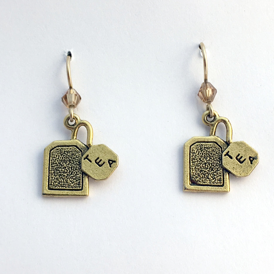Gold tone Pewter & 14k gf tea bag dangle  Earrings- tea lover- teabag, tea bags