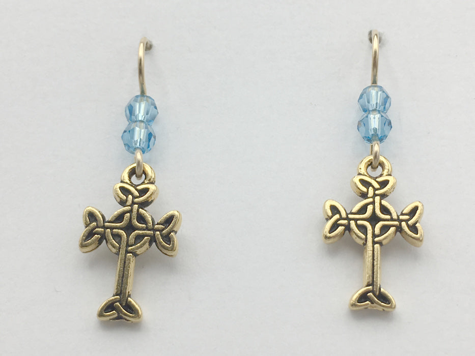 Gold tone Pewter & 14k gf Celtic knot Cross  dangle earrings- aqua blue crystal
