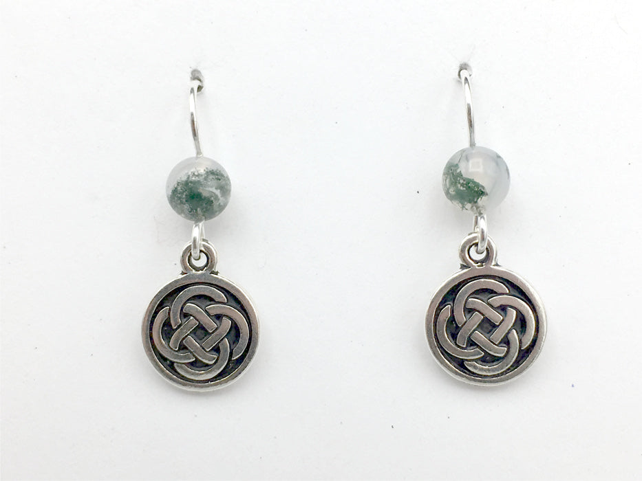 Pewter & Sterling Silver medium Round Celtic Knot dangle Earrings- Moss Agate