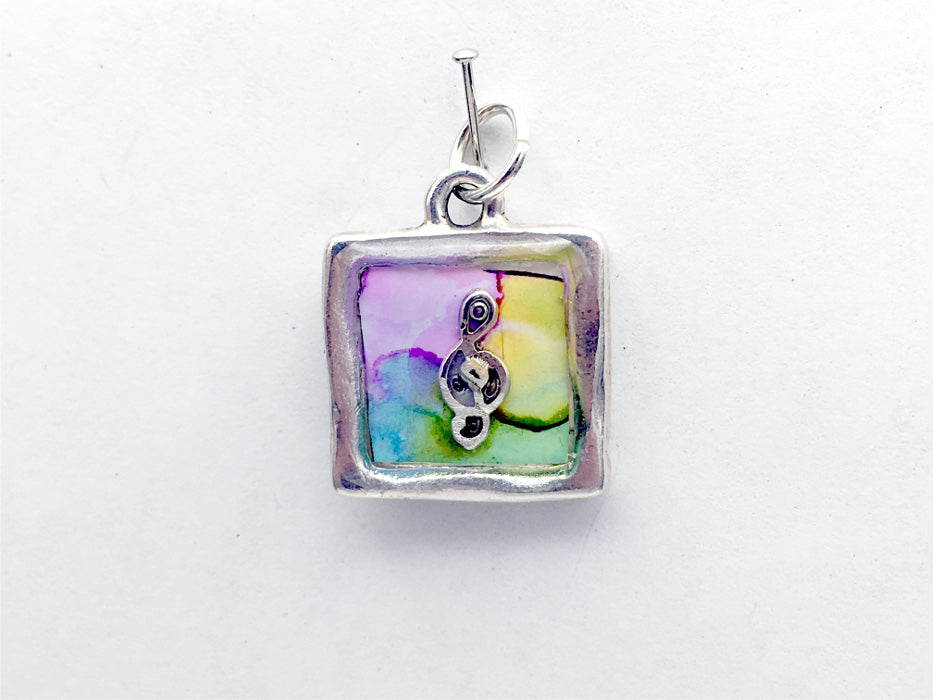 Square Pewter & Sterling Silver Treble Clef pendant-resin, music, musician, alcohol ink