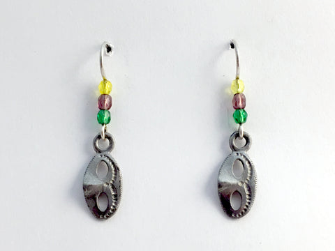 Pewter & Sterling silver Mask dangle Earrings-Drama-Mardi Gras, Carnival, New Orleans