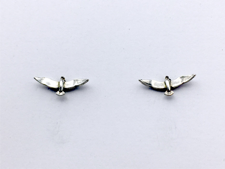Sterling Silver and Surgical Steel seagull stud earrings-shore bird, birds, gull