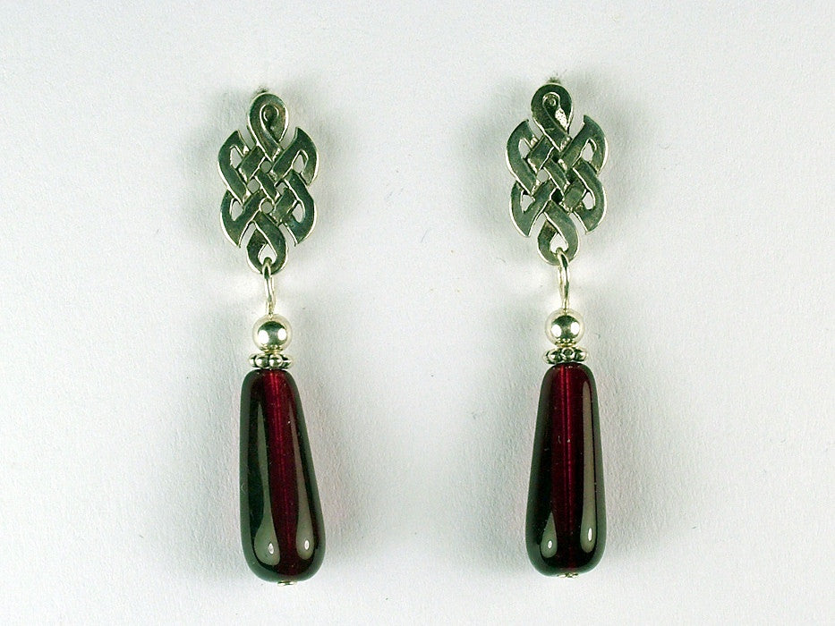 Sterling Silver & surgical steel Celtic knot stud Earrings-burgundy red glass