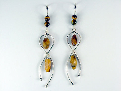 Sterling silver freeform dangle earrings w/ faceted Tiger Eye, Tigers eye