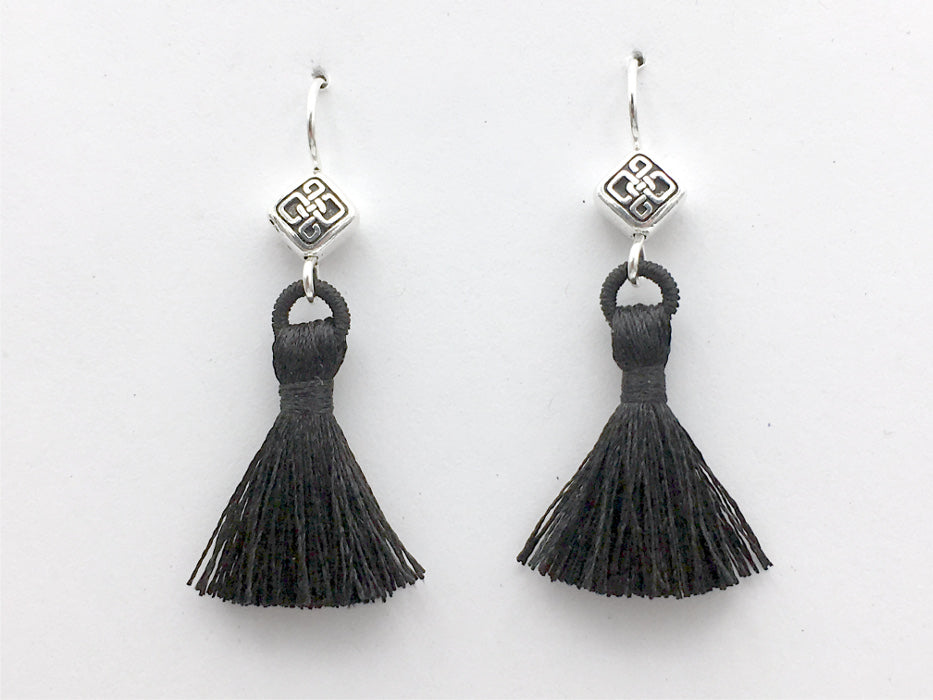 Pewter & Sterling Silver rhombus Celtic knot dangle Earrings-black tassel, knots