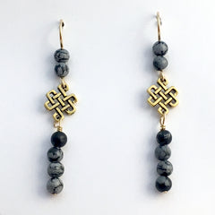 Goldtone Pewter & 14k gf  Endless Celtic Knot Earrings-snowflake obsidian,Tibetan