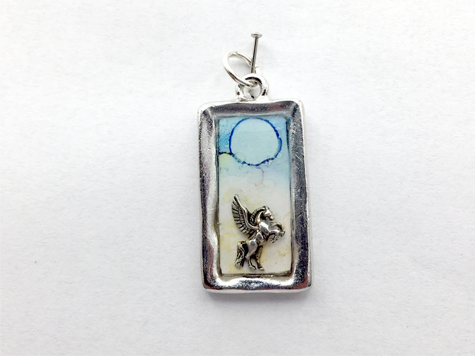 Pewter frame,sterling silver Pegasus in clouds pendant-resin, fantasy, alcohol ink