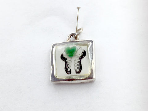 "Pewter frame with Irish Dance Soft Shoes with African ""Jade"" heart  pendant-resin, Feis"
